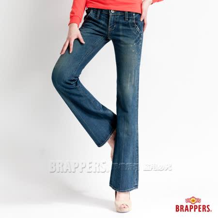 【BRAPPERS】女款 女垮褲系列-女用大喇叭褲-藍