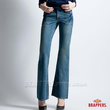 【BRAPPERS】女款 女垮褲系列-女用寬版大喇叭褲-深藍