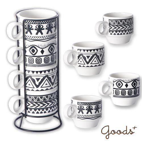 ~goods ~民族風圖騰疊疊杯咖啡杯_PC08^(黑白^)