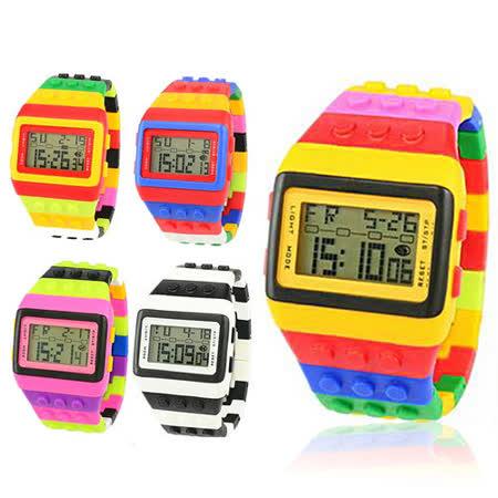 韓國熱銷積木造型中性款錶(4入)