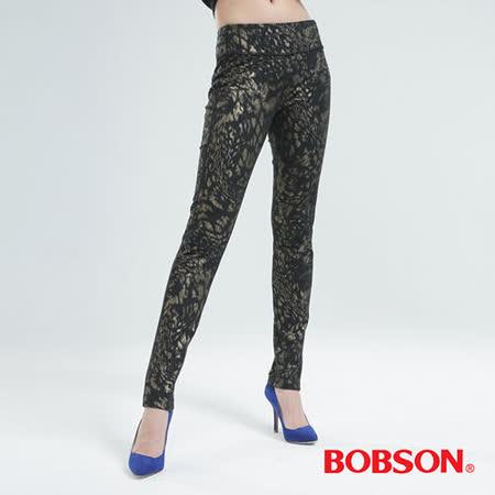 BOBSON 印花針織小直筒褲(豹紋金8104-01)