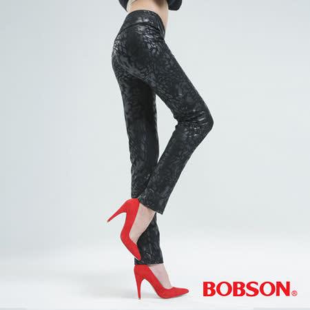 BOBSON 印花針織小直筒褲(豹紋銀8104-03)