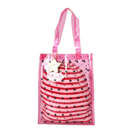 agnes b. 星星圖紋PVC防水束口手提包(粉紅色)