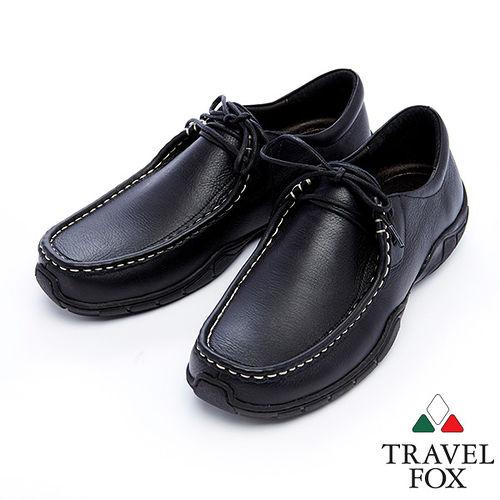 Travel Fox 皮革紋柔軟舒適鞋915122^(黑~01^)