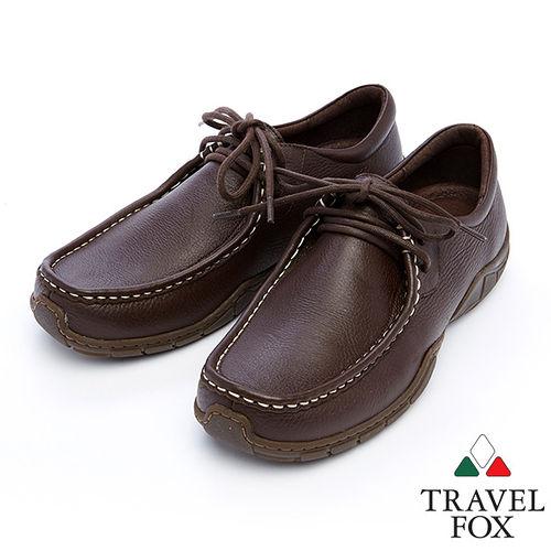 Travel Fox 皮革紋柔軟舒適鞋915122^(深咖啡~76^)