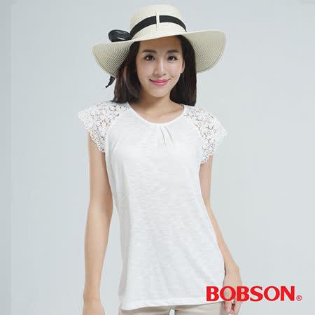 BOBSON 蕾絲袖上衣 (白色25086-81)