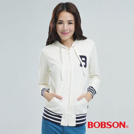 BOBSON 毛巾繡連帽式外套(白色25129-81)