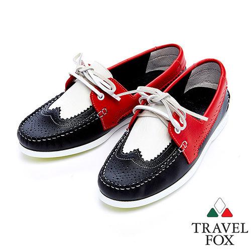 Travel Fox 牛津鞋面帆船鞋915127^(^(黑紅~49^)