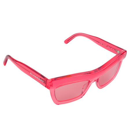 BURBERRY 俏皮透明設計LOGO字樣太陽眼鏡(紅)