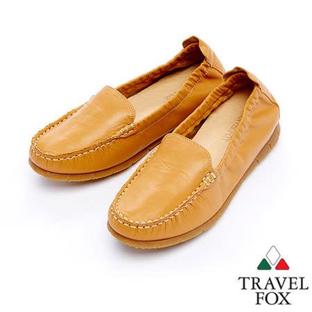 Travel Fox 柔軟皮革鬆緊帶舒適鞋915315(棕-08)