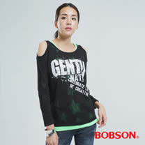 BOBSON 兩件式燒花布上衣(黑色33096-88)