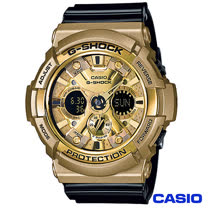 CASIO卡西歐 G-SHOCK搶眼酷炫黑金時尚超人氣數位雙顯錶 GA-200GD-9B2