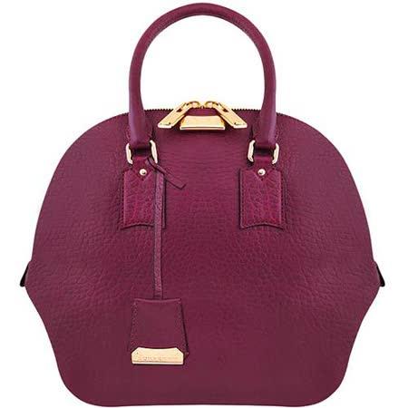 BURBERRY 小牛皮粒紋波士頓包-大型(紫紅色)