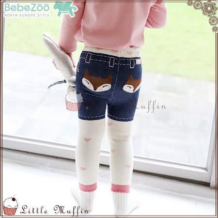 韓 BEBE ZOO 牛仔小狐狸女孩內搭長褲+防滑襪二件組套裝 80/90/100