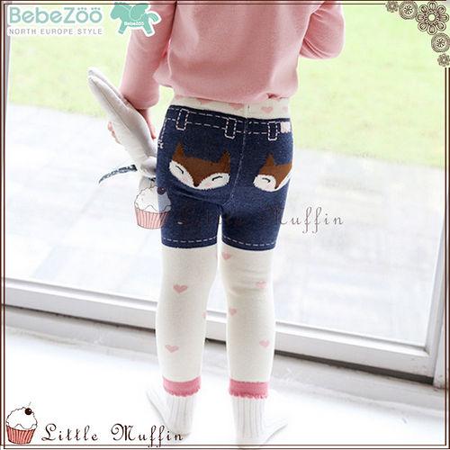 韓 BEBE ZOO 牛仔小狐狸女孩內搭長褲 防滑襪二件組套裝 8090100