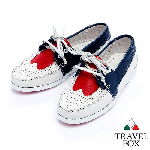 女Travel Fox 牛津鞋面帆船鞋915327^(紅藍~21^)