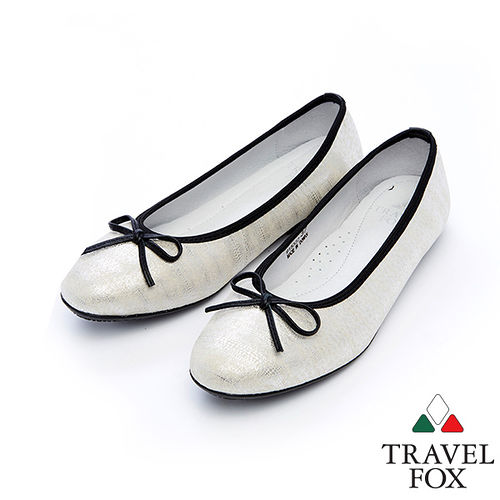女Travel Fox 蝴蝶結柔軟娃娃鞋915332^(冰白~10^)