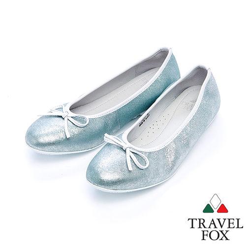 女Travel Fox 蝴蝶結柔軟娃娃鞋915332^(銀藍~77^)