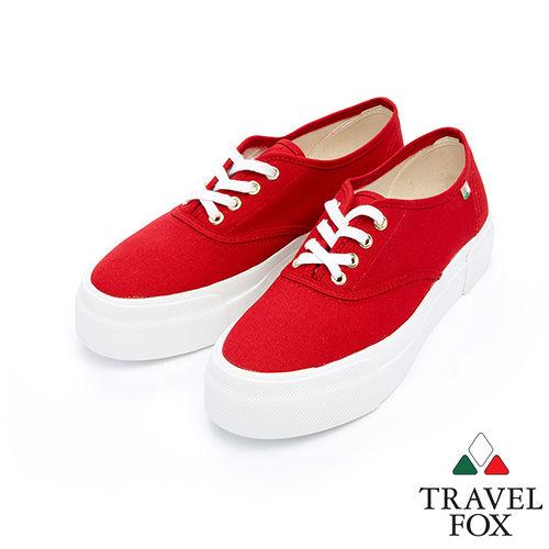 女Travel Fox 1.5舒適透氣厚底帆布鞋915335^(紅~04^)