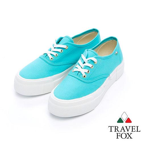 女Travel Fox 1.5舒適透氣厚底帆布鞋915335^(淺藍~77^)
