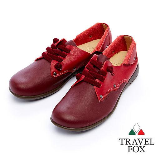 女Travel Fox 貝拉柔軟皮革休閒鞋915401^(酒紅~44^)
