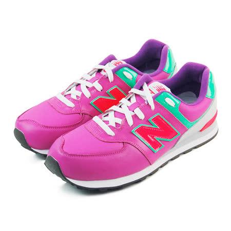 (大童)NEW BALANCE 復古鞋 紫紅/綠-KL574PGY