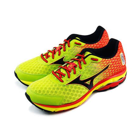 (男)MIZUNO美津濃 WAVE RIDER 18 慢跑鞋 螢光黃/紅-J1GC150410