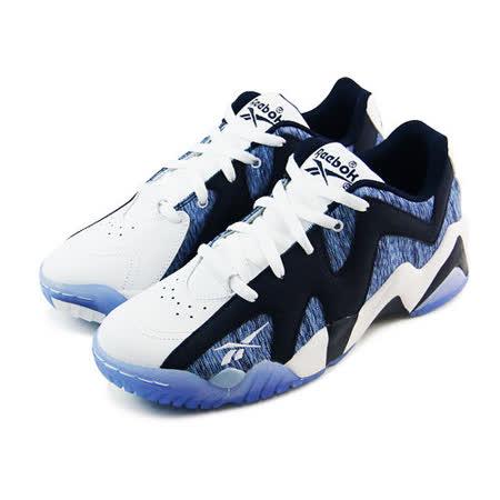 (男)REEBOK KAMIKAZE II LOW 籃球鞋 白/黑/藍-M49353