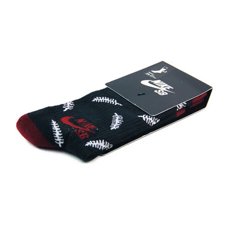 NIKE SB FERN CREW 中筒襪 黑/紅-SX5038016