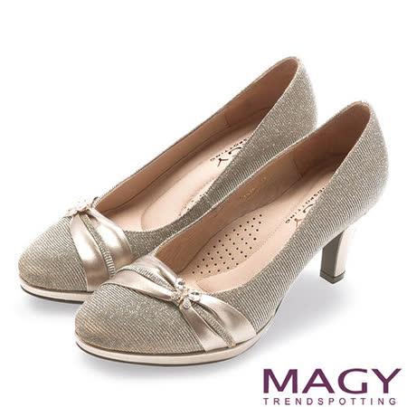 MAGY 夢幻新娘鞋款 閃爍鑽石光澤夢幻高跟鞋-金色