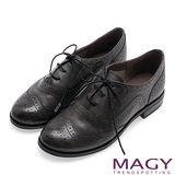 MAGY 英倫學院風 復古花邊綁帶真皮牛津鞋-灰色