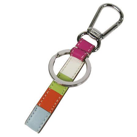COACH 彩虹皮革鑰匙圈禮盒(彩)