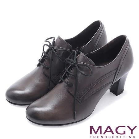 MAGY英倫學院風 經典綁帶真皮牛津粗跟踝靴-灰色