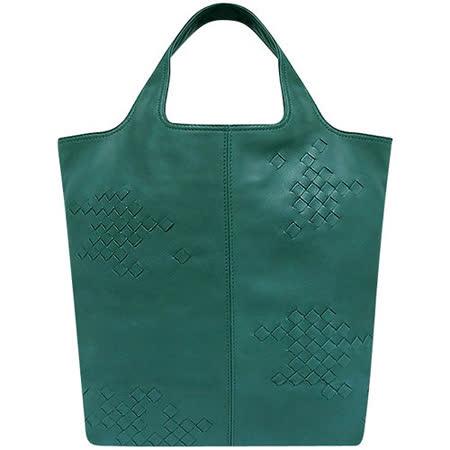 BOTTEGA VENETA 編織小羊皮托特包(土耳其藍色)