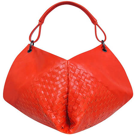 BOTTEGA VENETA 編織小羊皮肩背包(橘色)