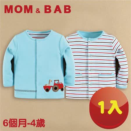 (購物車)【MOM AND BAB】藍色汽車純棉小外套 兩面穿(6M-4T)