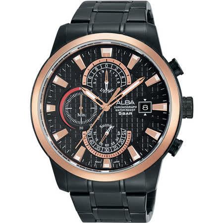 ALBA 限定潮流計時腕錶-黑x玫瑰金框/45mm VD57-X051SD(AM3164X1)