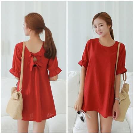 【Kate Classic 】寬鬆荷葉袖後背蝴蝶結氣質紅色洋裝DS154