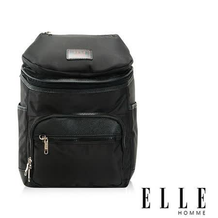 ELLE HOMME 法式精品機能休閒12吋筆電層 頭層皮直立體圓筒大容量後背包設計款 黑 EL83842-02