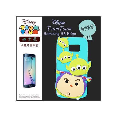 TSUM TSUM 迪士尼正版授權 三星Samsung Galaxy S6 Edge 立體手機軟膠套(三眼怪+巴斯光年)
