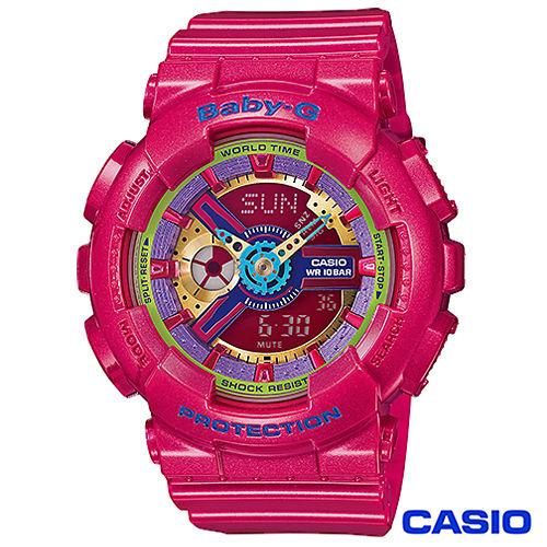 CASIO卡西歐 BABY~G少女時代立體多層次耀眼 雙顯錶 BA~112~4A