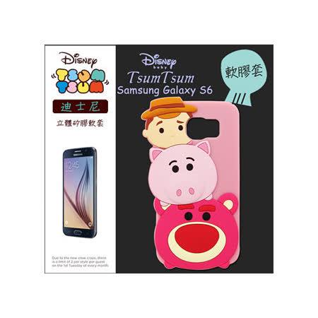 TSUM TSUM 迪士尼正版授權 三星 Samsung Galaxy S6 立體手機軟膠套(胡迪+熊抱哥)