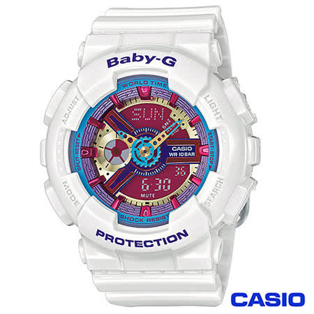 CASIO卡西歐 BABY-G少女時代立體多層次甜美運動雙顯錶 BA-112-7A