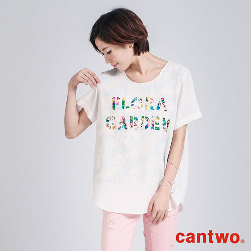 cantwo彩色割字半透視雪紡上衣^(共二色^)