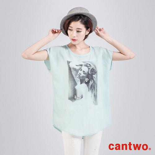 cantwo雪紡印刷人物燙鑽長版上衣^(共二色^)