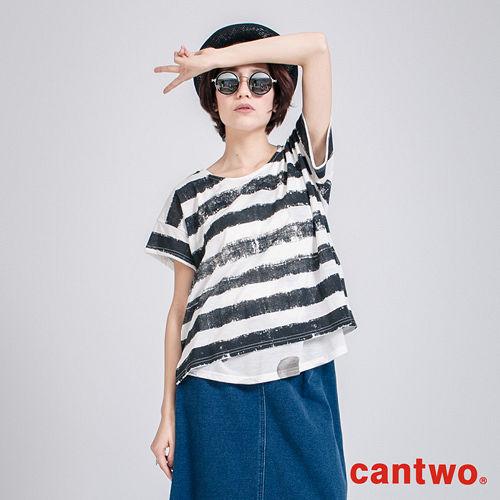 cantwo寬版條紋內搭圓點背心兩件式短袖上衣^(共三色^)