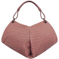 BOTTEGA VENETA 編織小羊皮肩背包(玫瑰色)