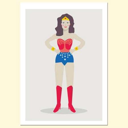 【摩達客】西班牙插畫家Judy Kaufmann藝術海報掛畫裝飾畫-神力女超人 (附Judy本人簽名)(含木框)