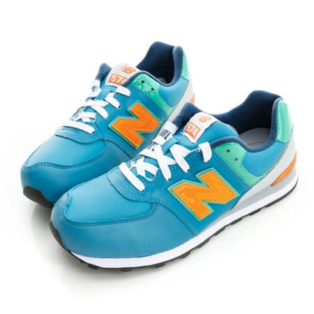 New Balance (童)574系列經典復古鞋-藍-KL574LBY