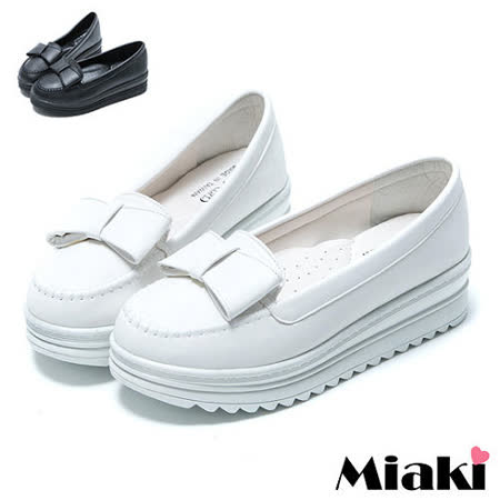 【Miaki】MIT 漫步時尚蝴蝶厚底包鞋樂福鞋懶人鞋 (白色/黑色)